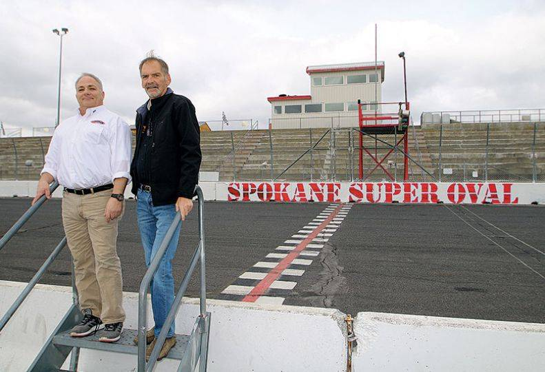 Spokane Super Oval track operator Rick Nelson (right) and general manager Jim Moore are banking on profitability in 2018.